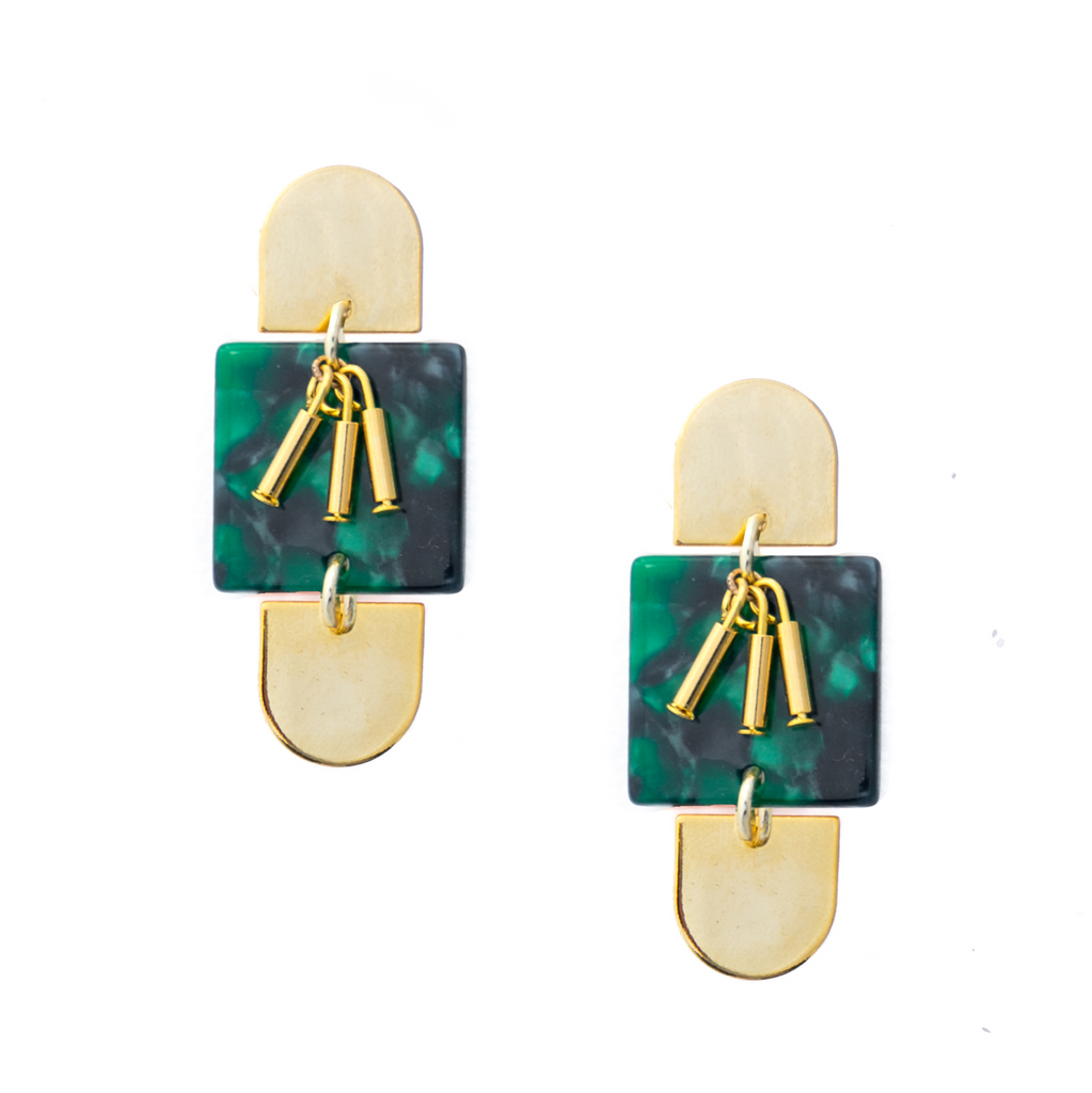 Paige Acrylic Statement Earrings - Palm - EARRINGS - MOD + JO