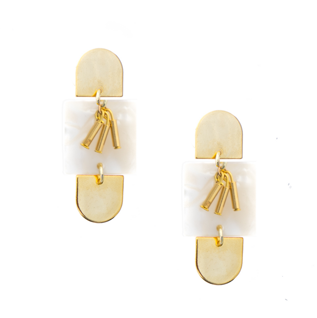 Paige Acrylic Statement Earrings - Shell White - EARRINGS - MOD + JO