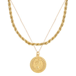 French Rope Chain + Queen Pendant Necklace Set