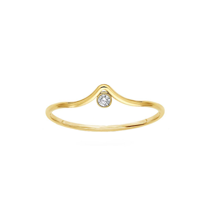 Rowe Arc Stacking Ring with CZ