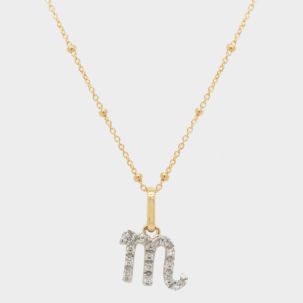 14k Diamond Zodiac Pendant Necklace