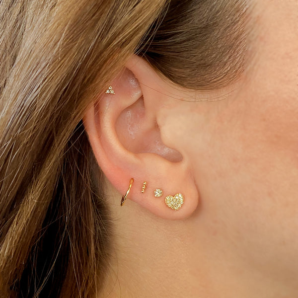 14k Trinity Bar Threadback Stud