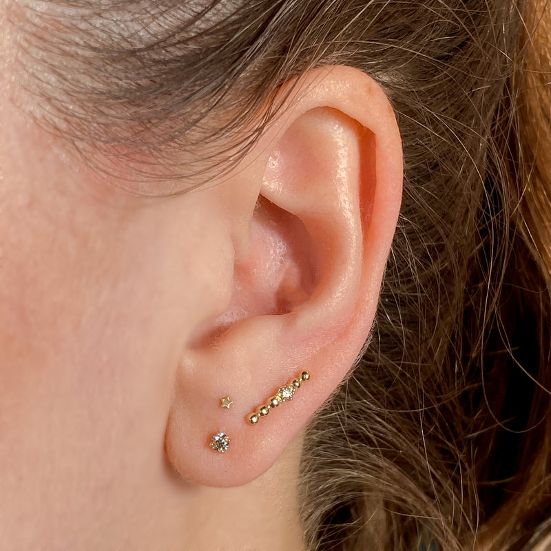 14k Droplet Bar Stud