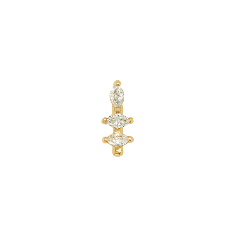 14k Marquise Diamond Bar Stud