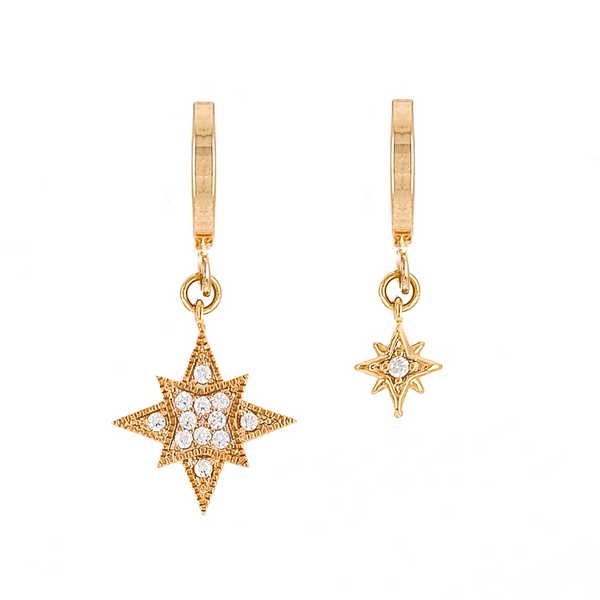 Super Star Asymmetrical Huggies - EARRINGS - MOD + JO