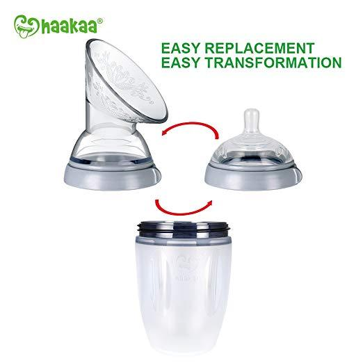 Haakaa Gen 3 Silicone Breast Pump Flange and Bottle Set 160 ml/6 oz