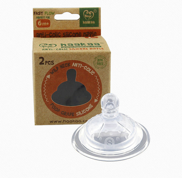 Haakaa Wide Neck Silicone Anti-Colic Nipples for Glass Bottles 2 pk