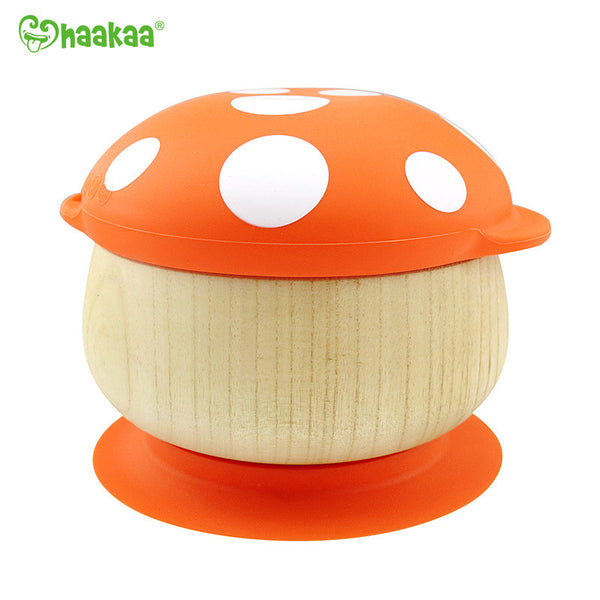 Haakaa Wooden Mushroom Bowl with Suction Base and Silicone Cap 1 pk