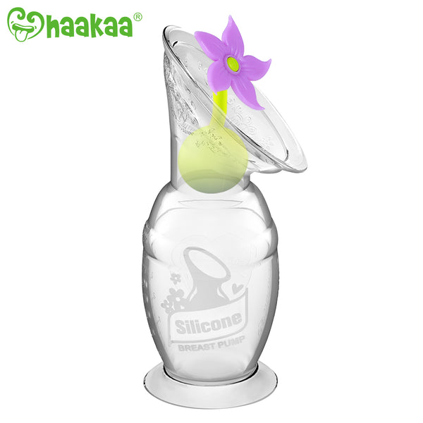 Haakaa Gen 2 Silicone Breast Pump with Suction Base 4 oz and Silicone Flower Stopper Set