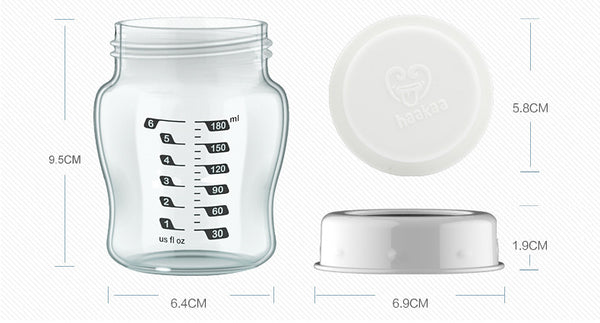 Haakaa Wide Neck Glass Breast Milk Storage Set 6 oz, 4 pk
