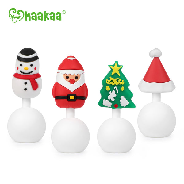 Haakaa Winter Holiday Silicone Breast Pump Stopper Gift Set 4 PK (Limited Edition)
