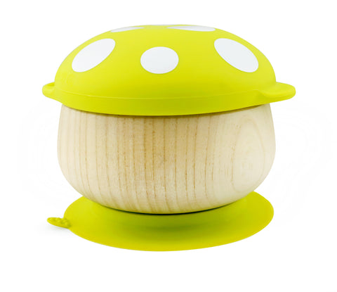 Haakaa Wooden Mushroom Bowl with Suction Base and Silicone Cap 1 pk (More Colors)