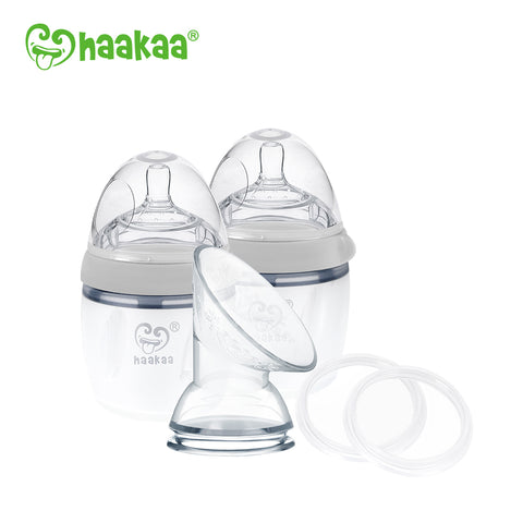 Haakaa Gen 3 Silicone Breast Pump and Bottle Pack 160 ml/6 oz
