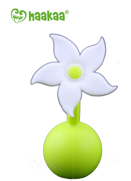 Haakaa Silicone Breast Pump with Suction Base 5 oz and Silicone Flower Stopper Set (More Colors)