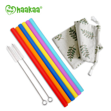 Haakaa Straight Silicone Straws with Cleaning Brushs, 6 pk