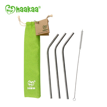 Haakaa Curved Stainless Steel Straws with Cleaning Brush, 3 pk