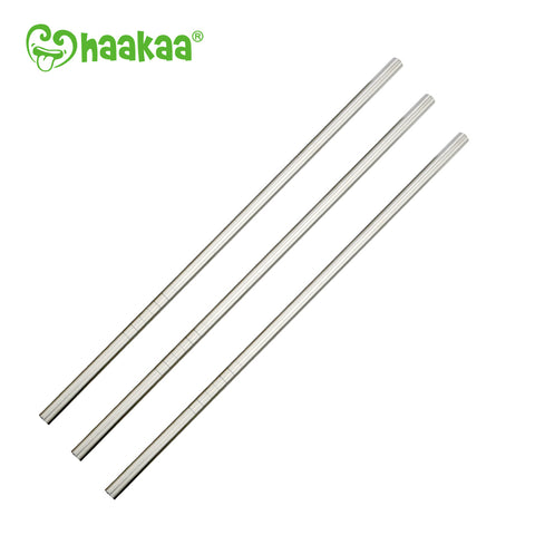 Haakaa Straight Stainless Steel Straws with Cleaning Brush, 3 pk