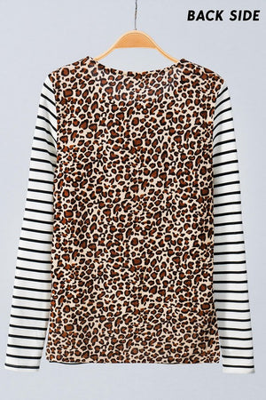 Stripe Leopard back top