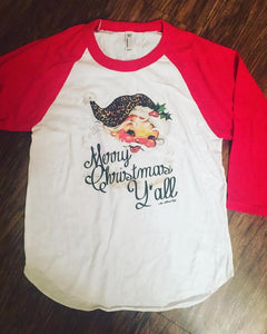 Merry Christmas Y'all-Kids raglan