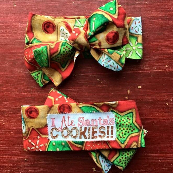 I Ate Santa's Cookies girls head wrap