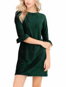 Ruffle Sleeve Green Velvet dress