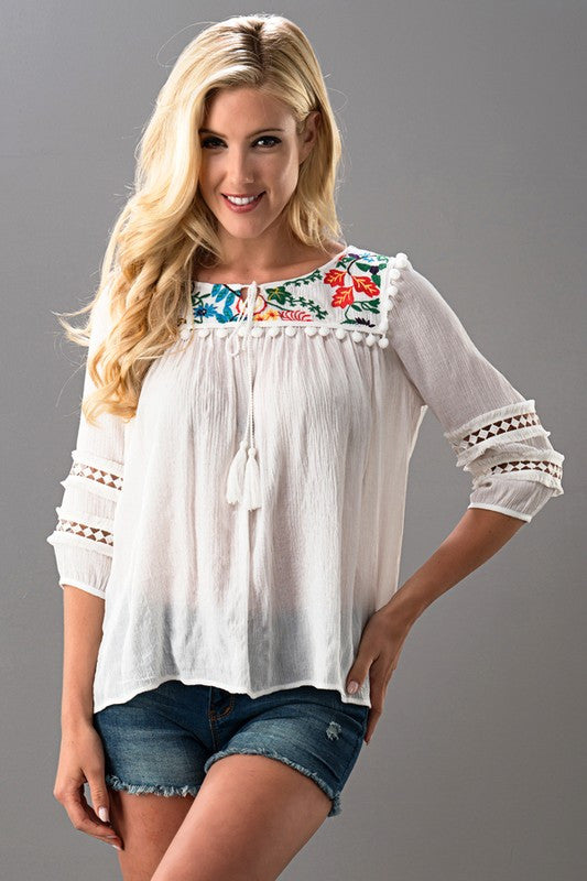 Pom Pom Embroidered top