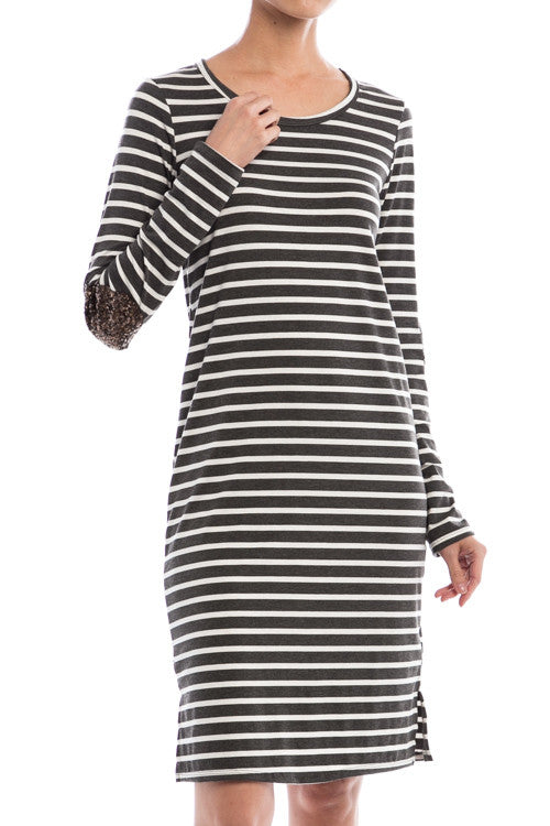 Sequin Elbow Patch Striped Dress