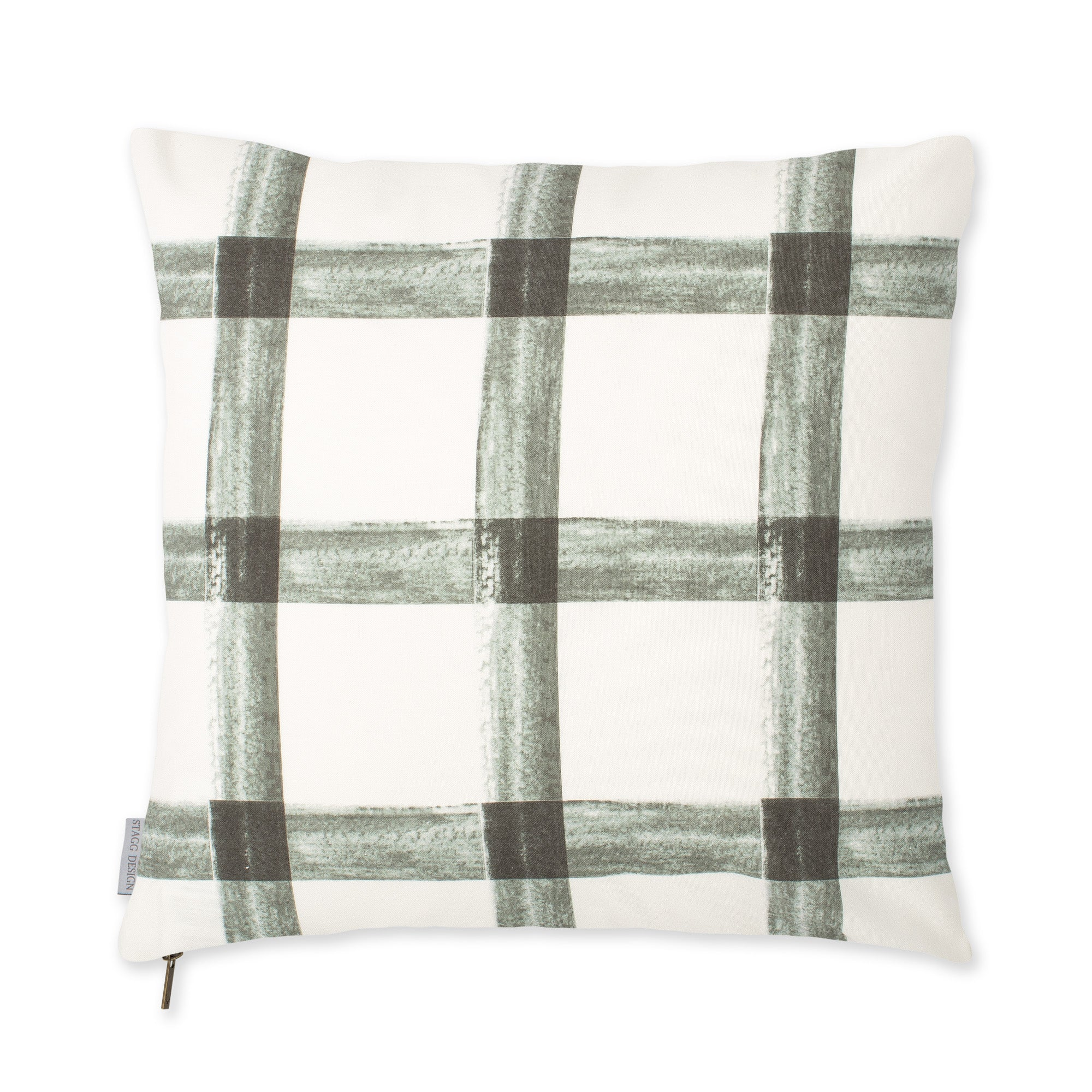 Brushstroke Plaid Pillow - Grey