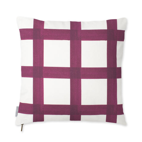 Brushstroke Plaid Pillow - Berry