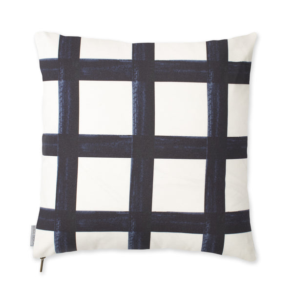 Brushstroke Plaid Pillow - Navy