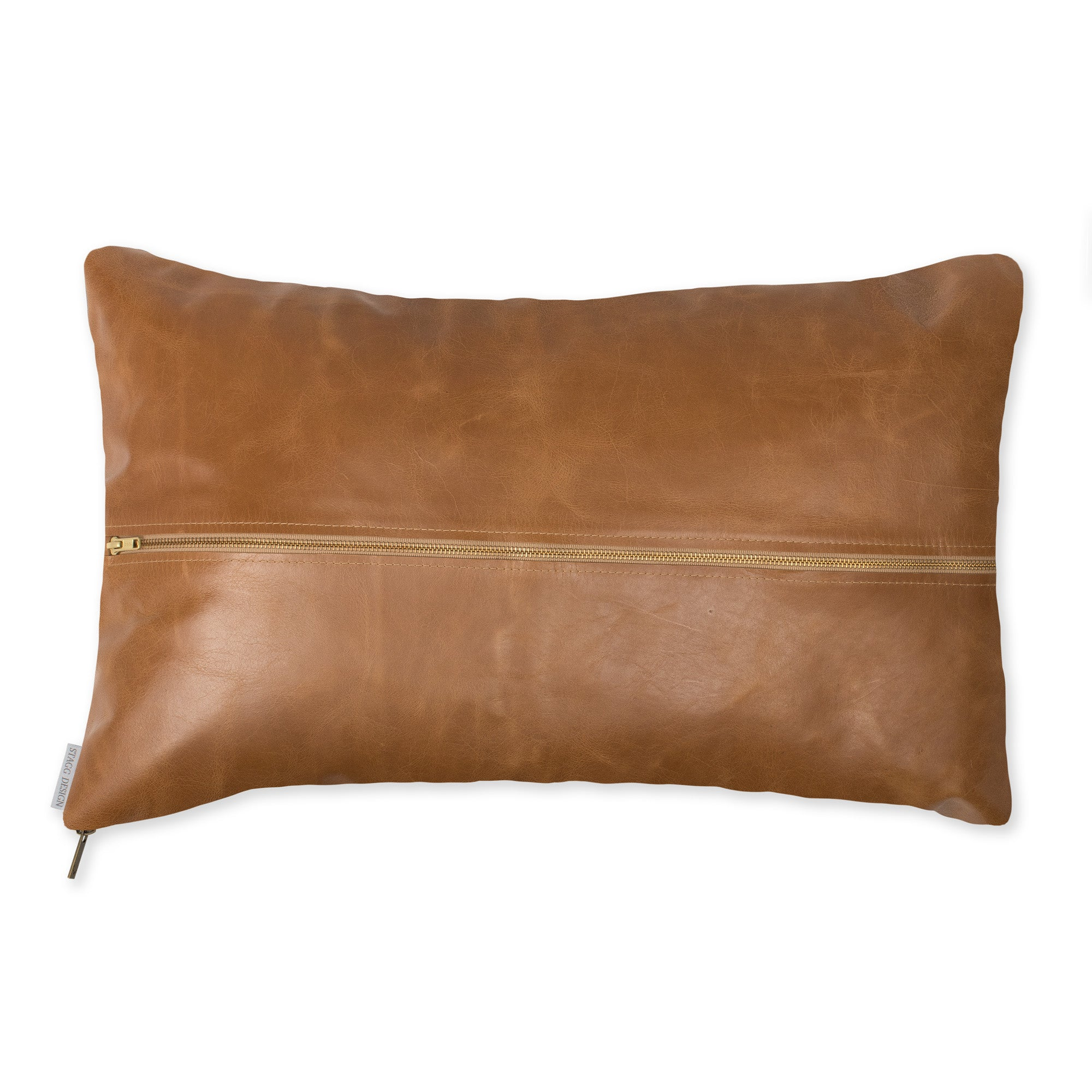 Signature Leather Pillow - Camel