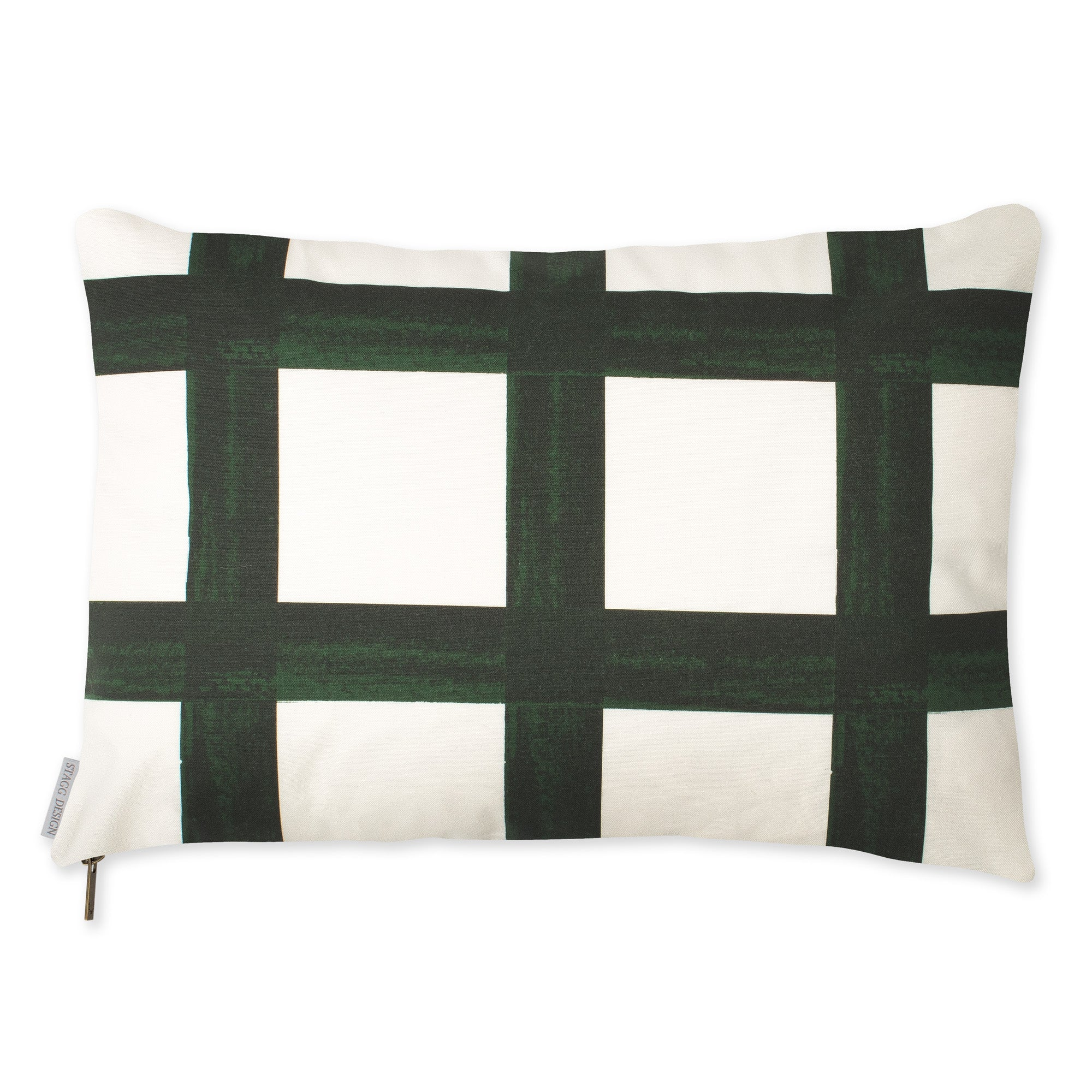 Brushstroke Plaid Pillow - Forest