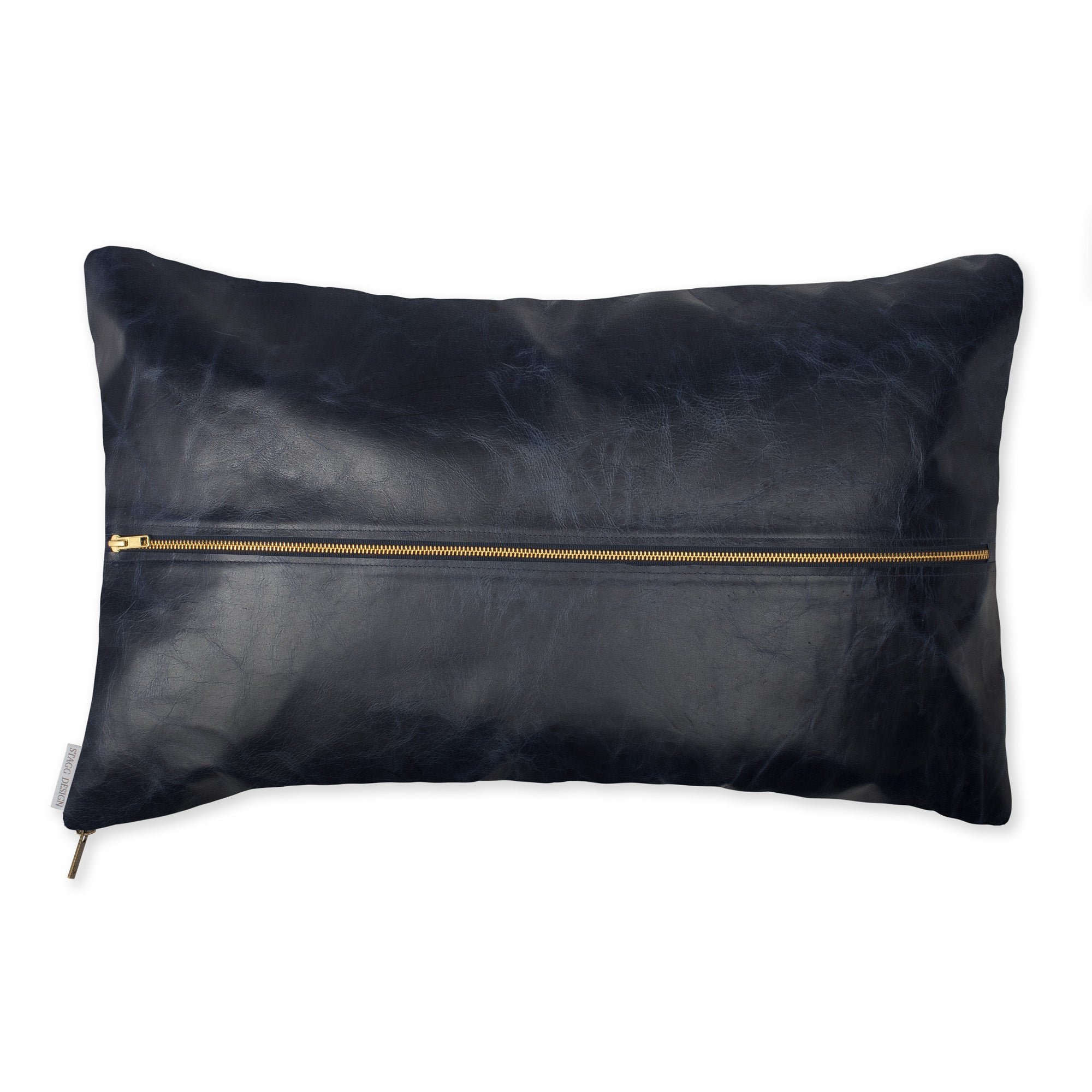 Signature Leather Pillow - Navy