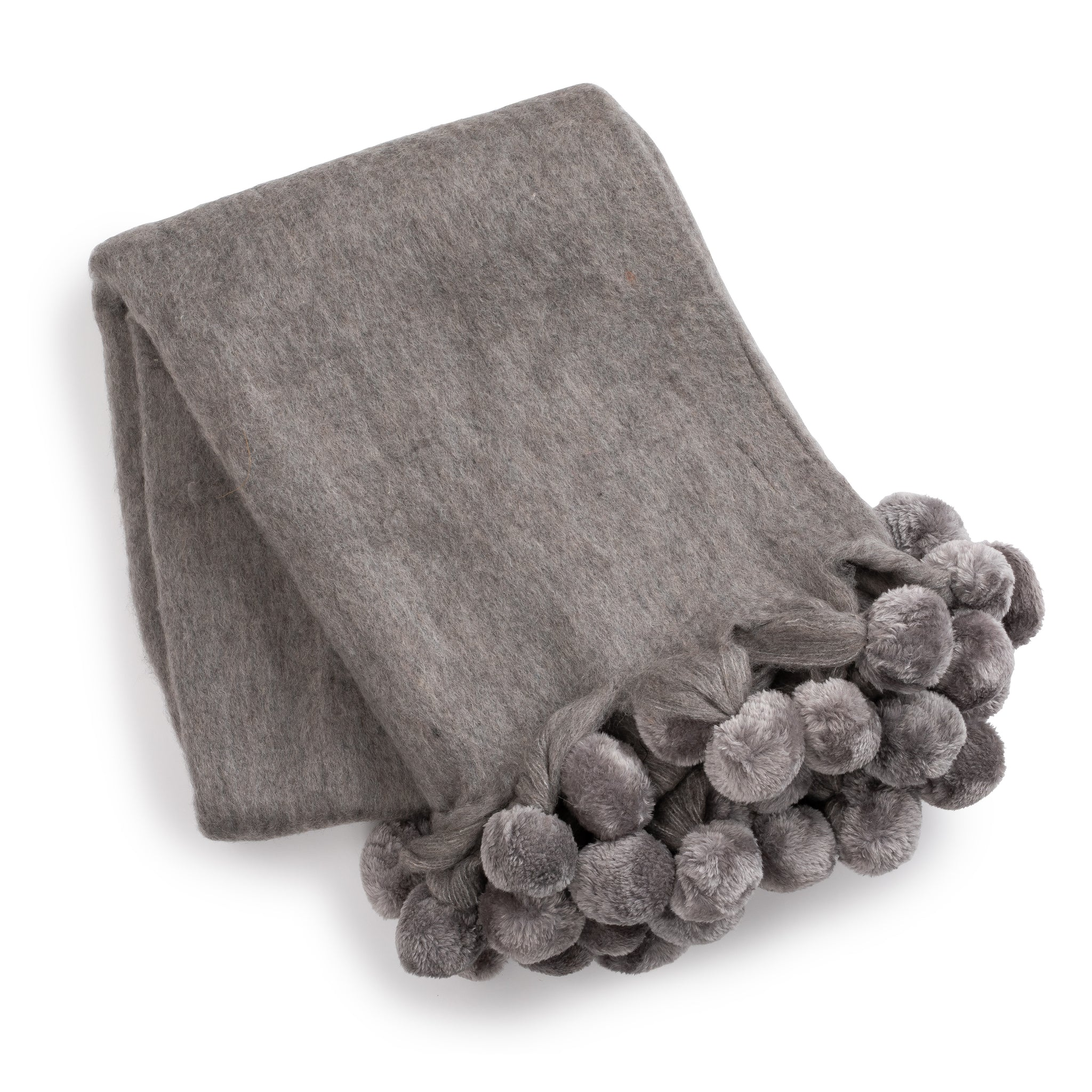Over-Sized Wool PomPom Throw