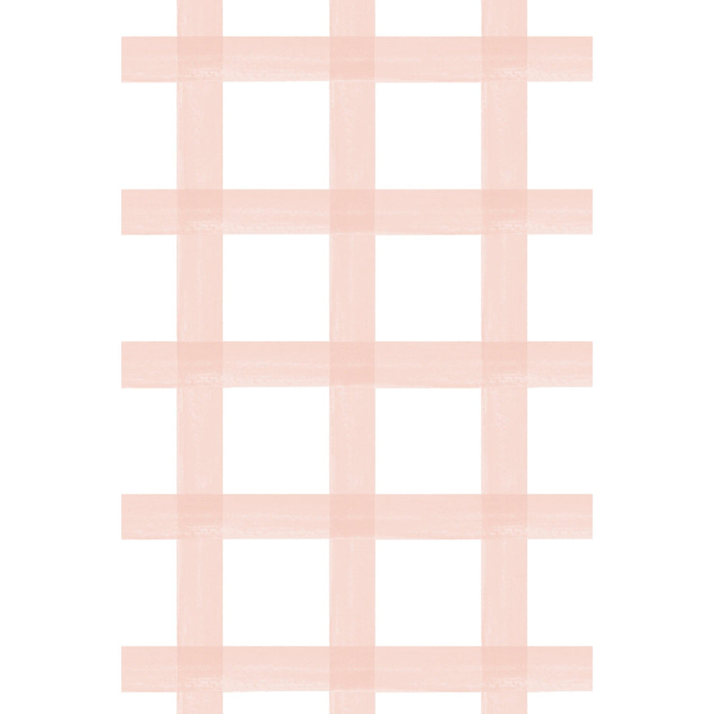 Brushstroke Plaid Fabric - Blush