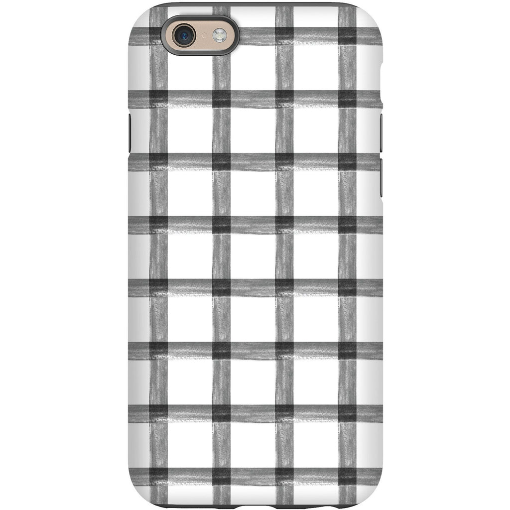 Phone Case - Grey Brushstroke Plaid