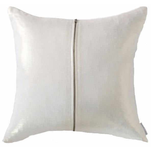 Signature Zip Front Linen Pillow - Metallic Pale Gold