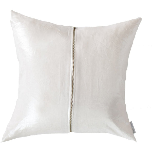 Signature Zip Front Linen Pillow - Metallic Champagne