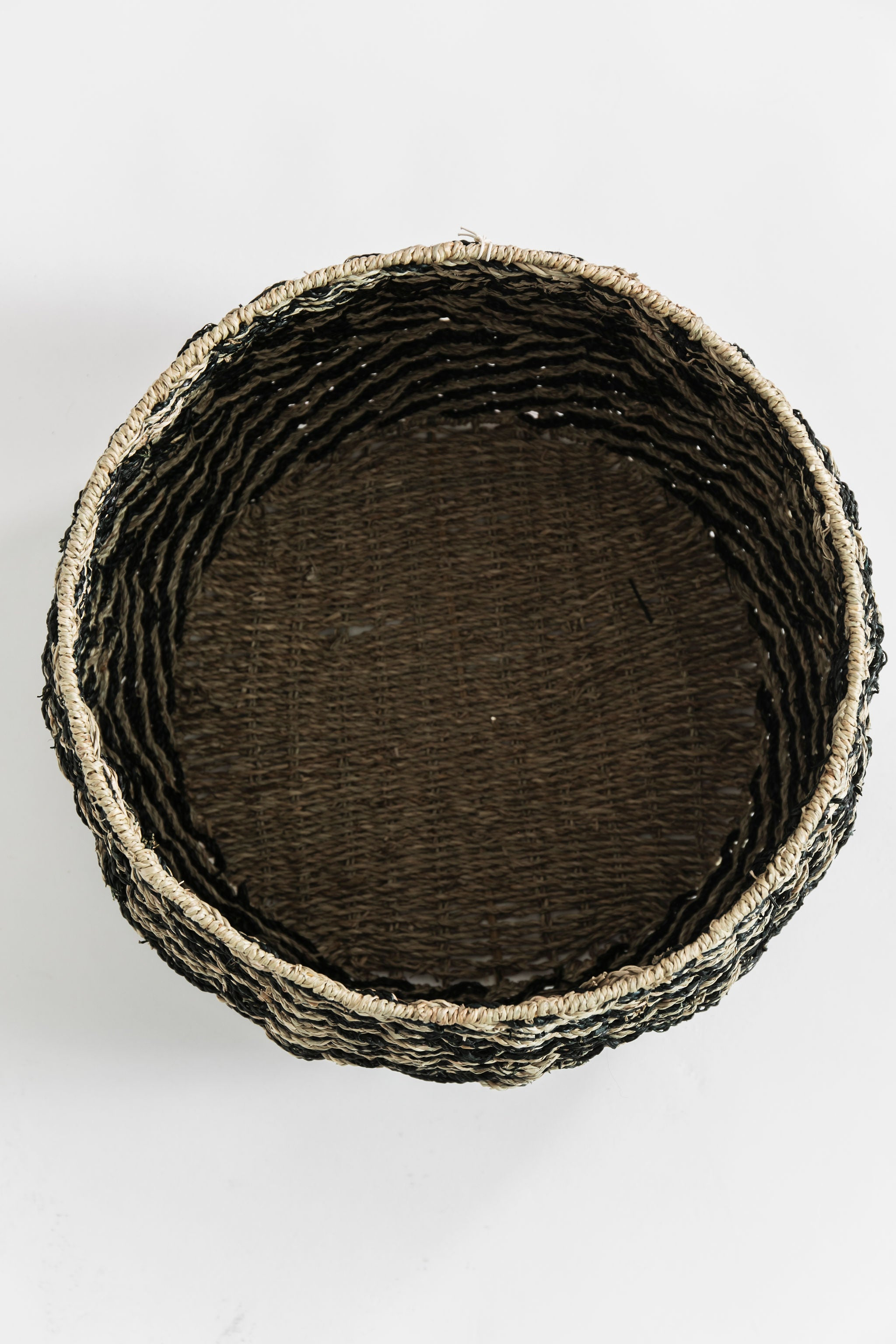 Chevron Woven Seagrass Basket- Medium