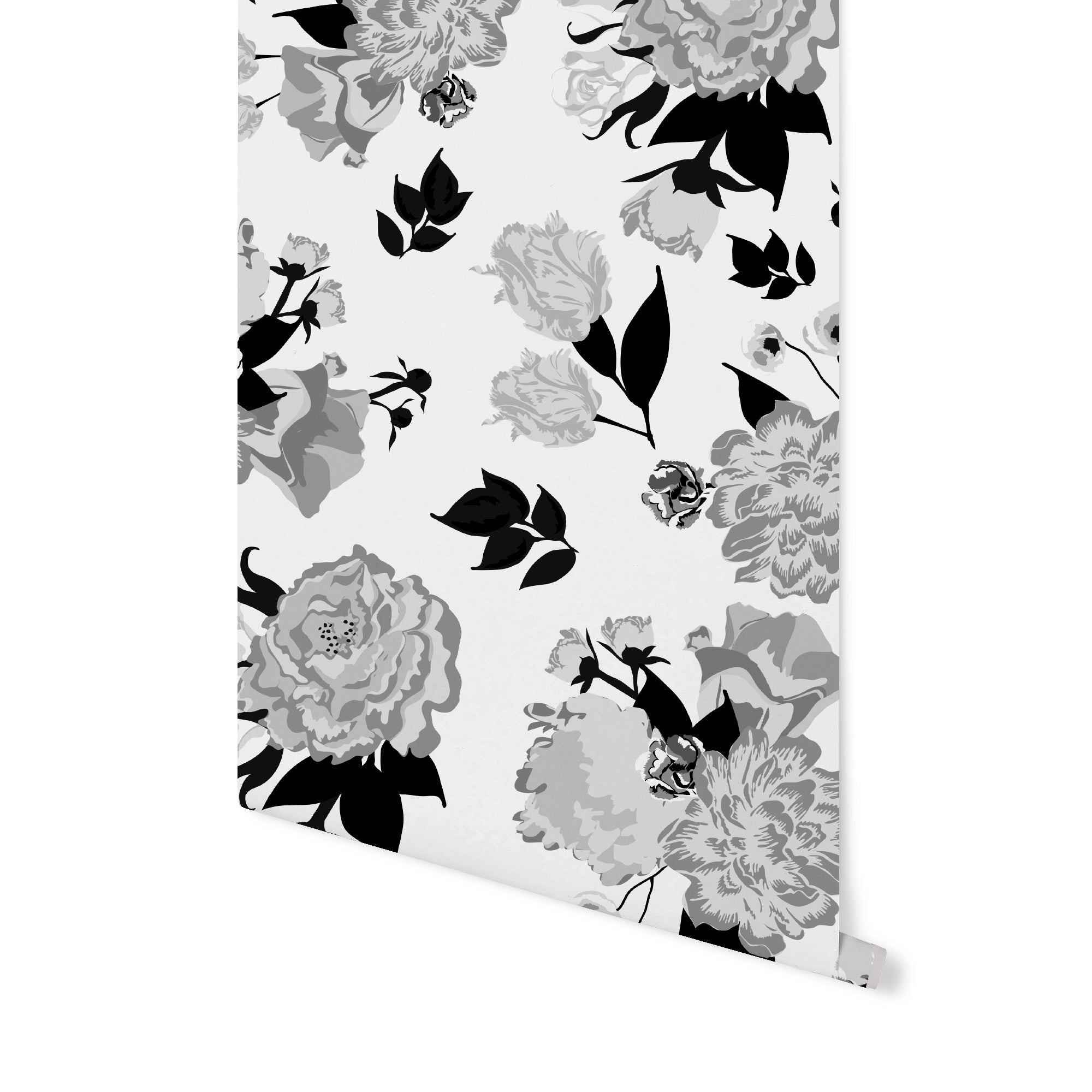 Vivienne Floral Wallpaper - Black & White