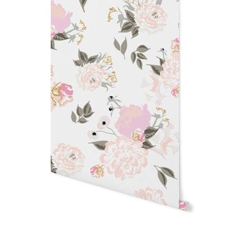 Vivienne Floral Wallpaper - Blush
