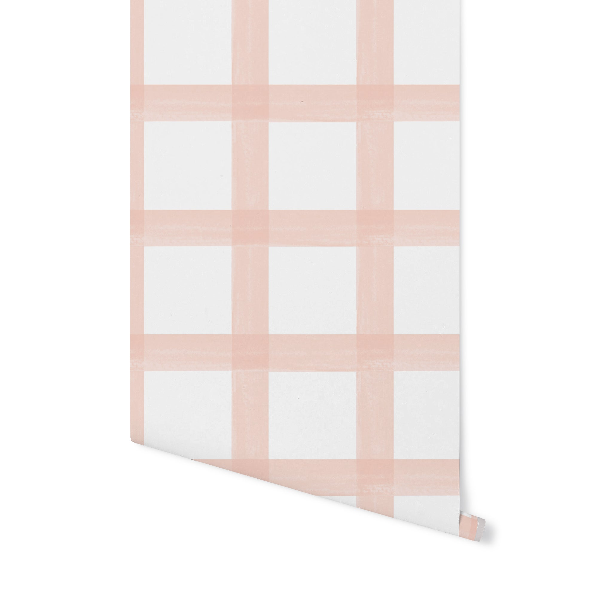Brushstroke Plaid Wallpaper - Ballet Pink