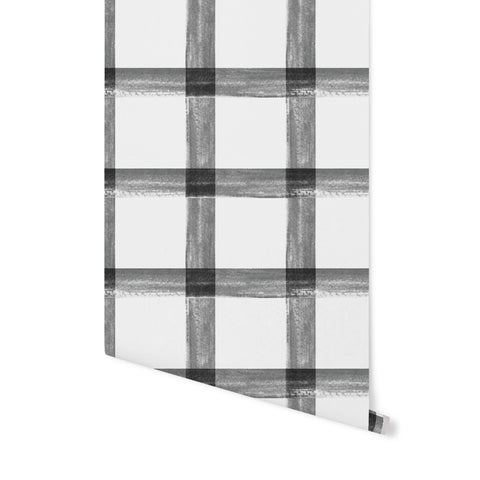 Brushstroke Plaid Wallpaper - Grey