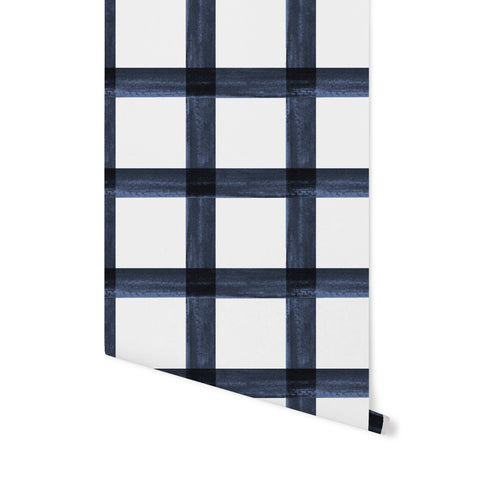 Brushstroke Plaid Wallpaper - Navy