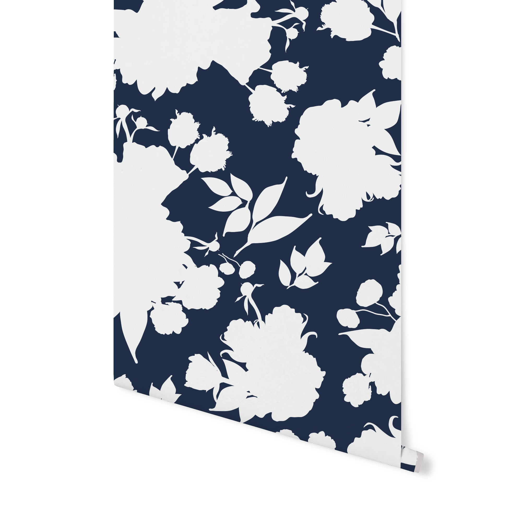 Vivienne Shadowplay Floral Wallpaper Navy Stagg Design Shop