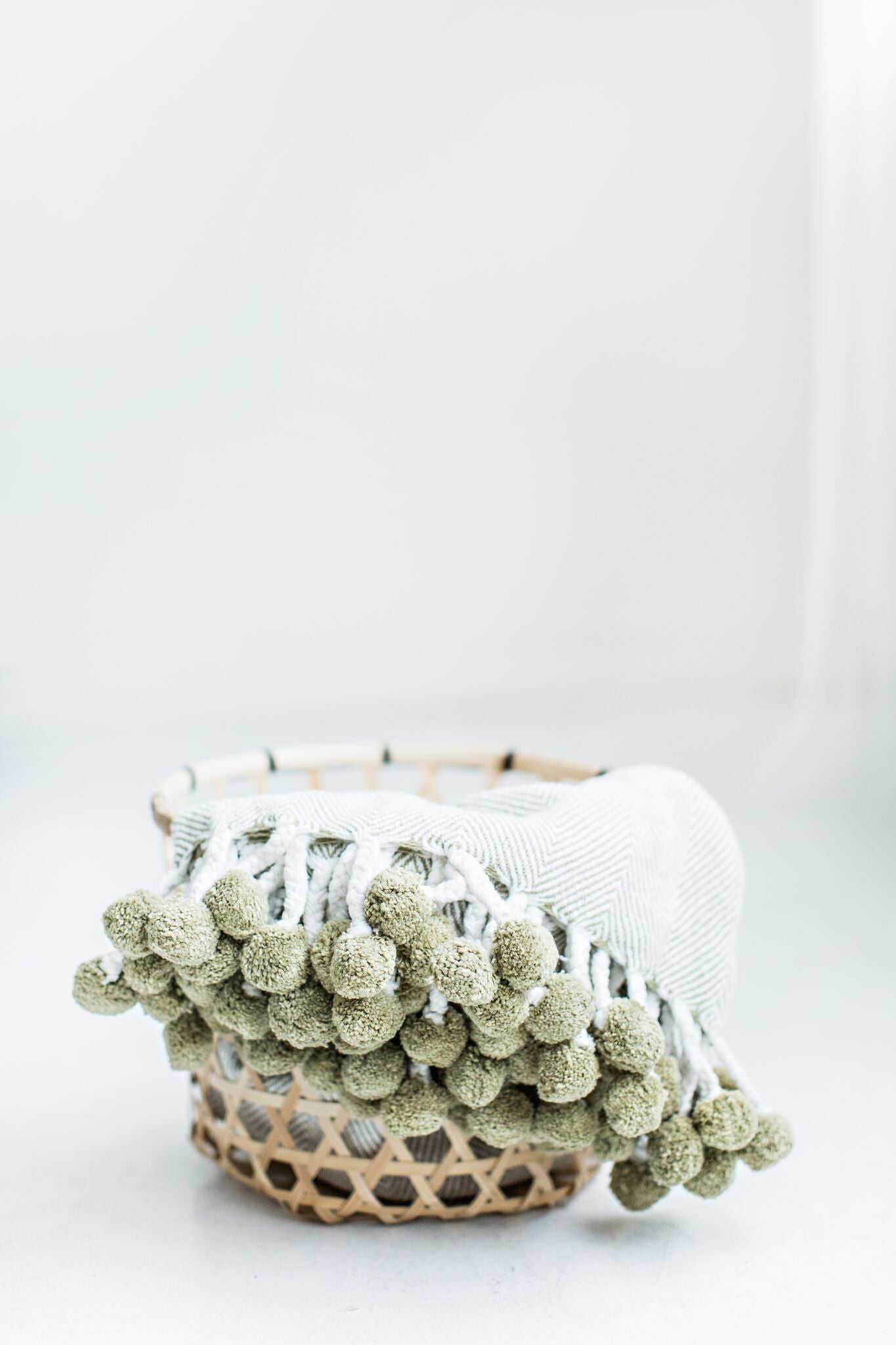 Herringbone PomPom Throw - Soft Sage