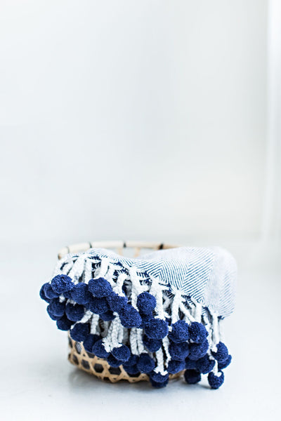 Herringbone PomPom Throw - Navy