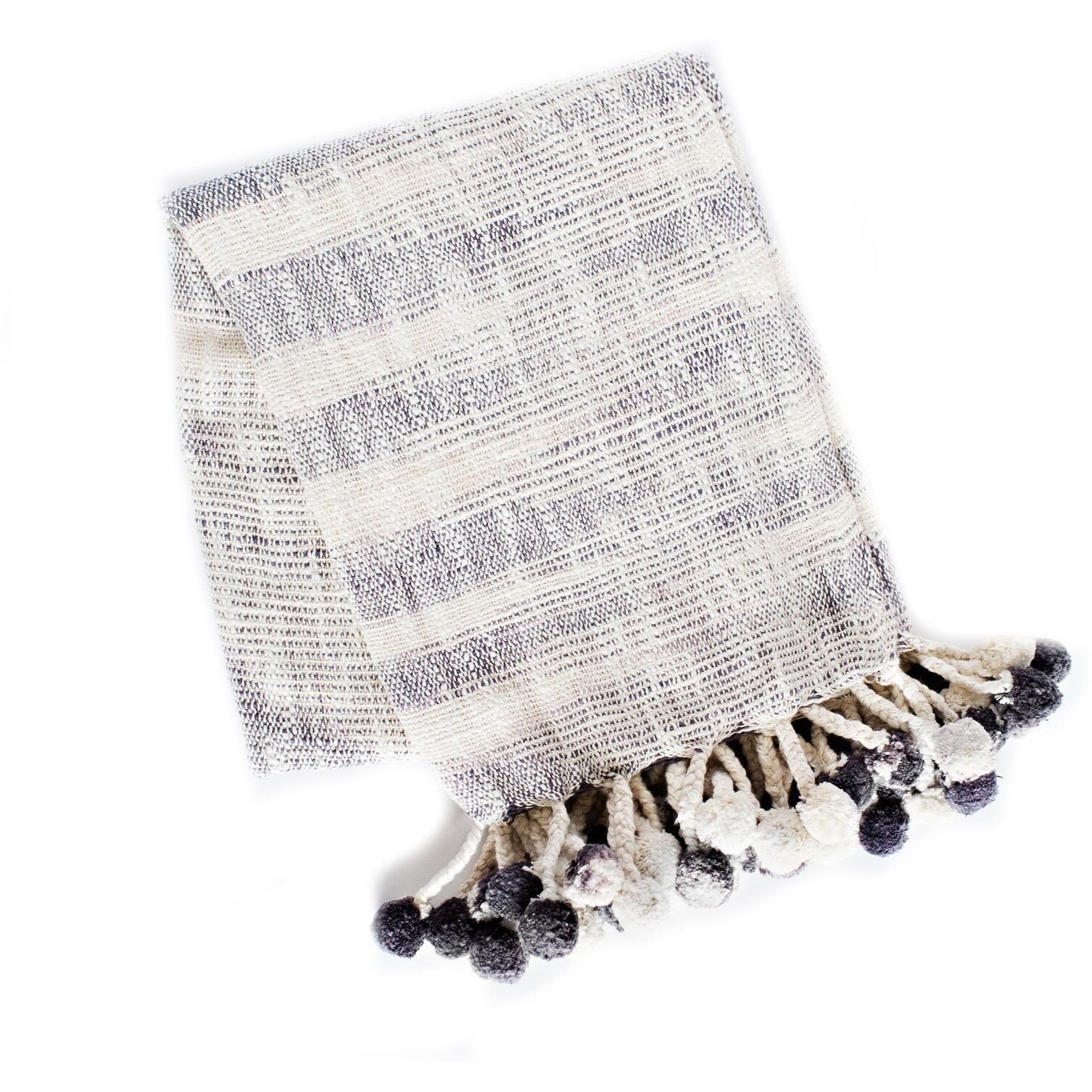 Woven PomPom Throw - Charcoal