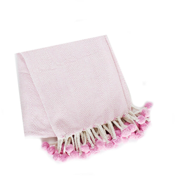Herringbone PomPom Throw - Ice Pink
