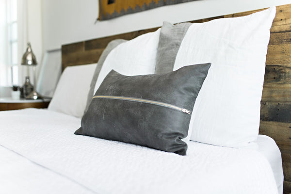 Signature Zip Front Leather Pillow - Weathered Grey
